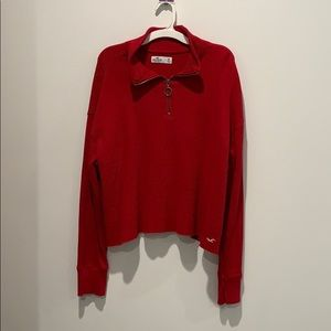 Red half zip long sleeved shirt